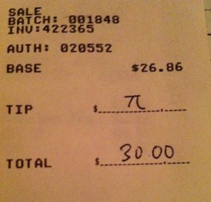 Pi Tip Receipt